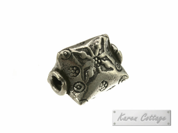 Karen Hill Tribe Silver Tribal 3 side Prism Bead : B44-116