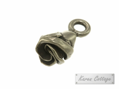 Karen Hill Tribe Silver Budding Rose Charm : C11-004