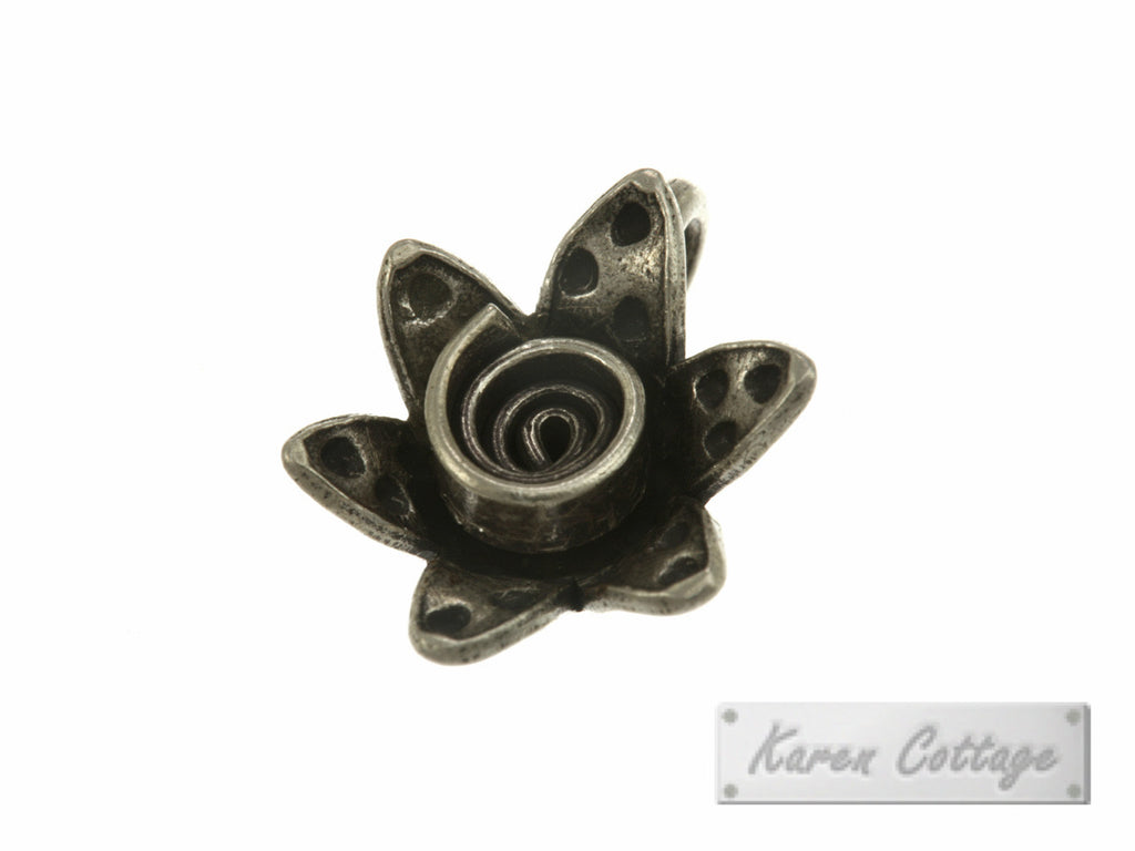 Karen Hill Tribe Silver Young Stock Flower Charm : C11-049