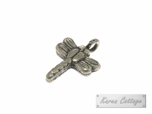 Karen Hill Tribe Silver Flat Dragonfly Charm : C23-001