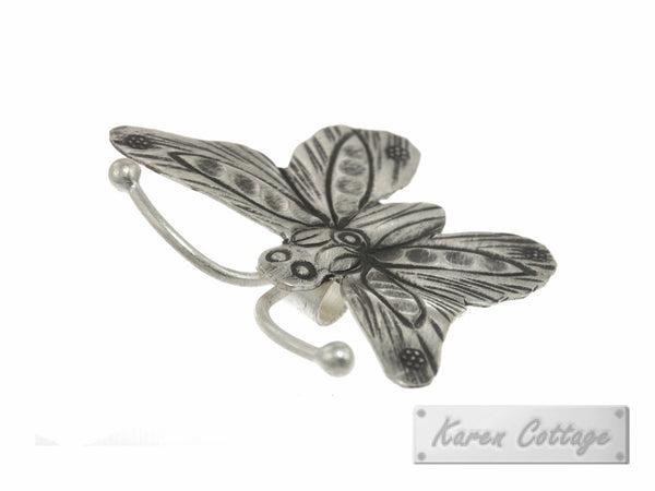 Karen Hill Tribe Silver Forest Butterfly Charm : C23-019
