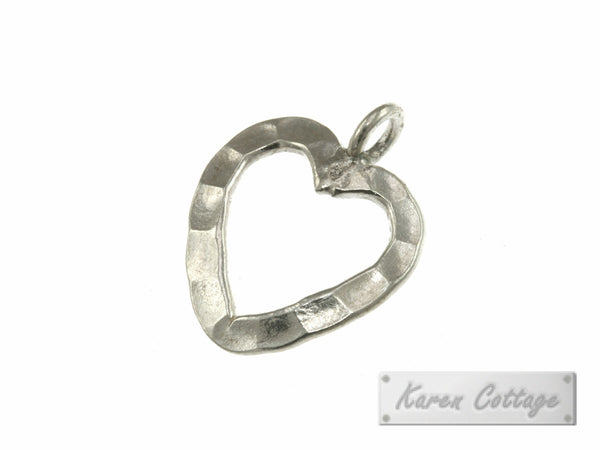 Karen Hill Tribe Silver Flat Hammered Wire Heart Charm : C31-015
