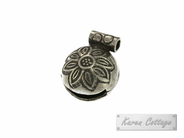 Karen Hill Tribe Silver Flower Printed Tribal Bell Charm : C33-123