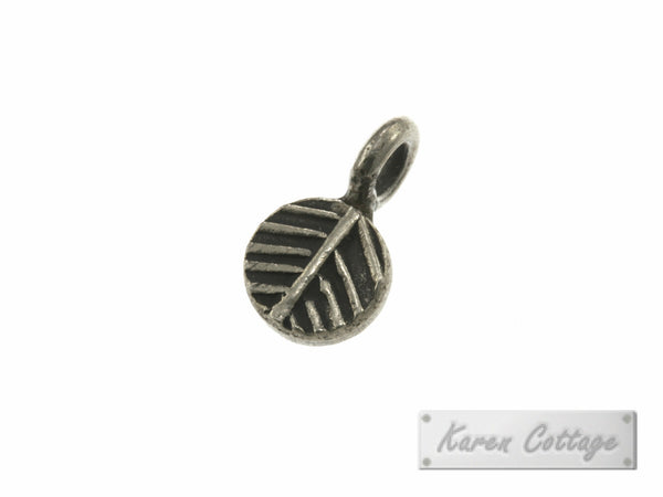 Karen Hill Tribe Silver Flat Leaf Printed Round Charm : C34-011