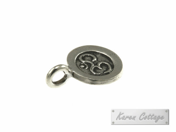 Karen Hill Tribe Silver OM Printed Flat Round Charm : C34-014