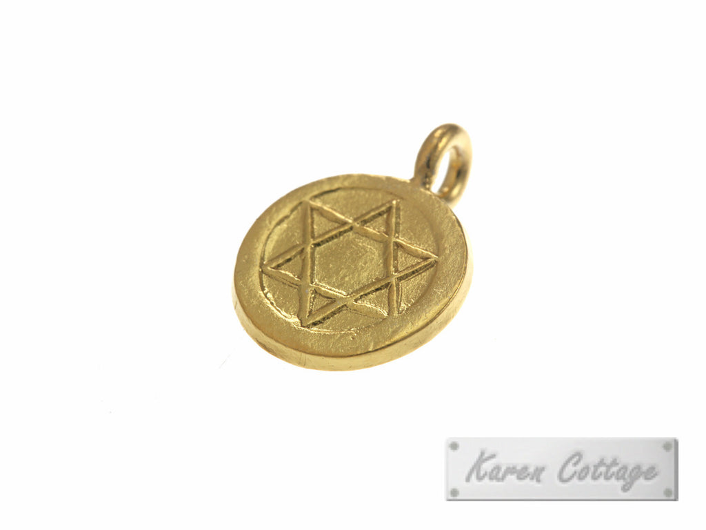 Karen Hill Tribe Silver Star-of-David Flat  Round Charm : C34-028G