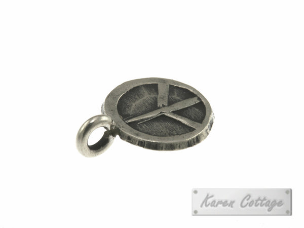 Karen Hill Tribe Silver Peace Sign Flat Round Charm : C34-029