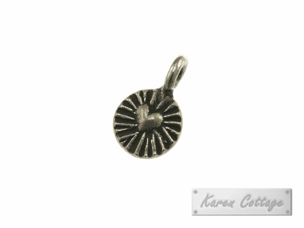 Karen Hill Tribe Silver Heart Engrave Tiny Round Charm : C34-038