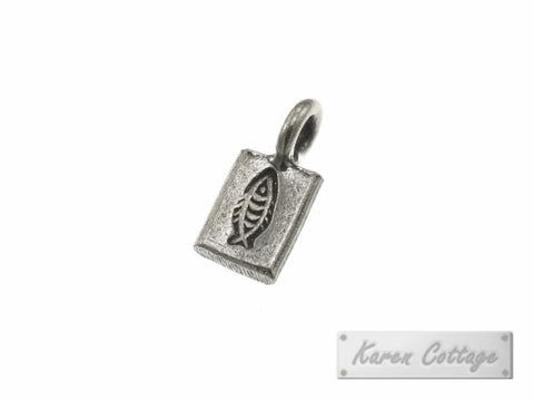 Karen Hill Tribe Silver Fish Printed Flat Rectangle Charm : C44-102
