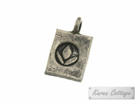 Karen Hill Tribe Silver Lilly Flower Rectangle Charm : C44-105