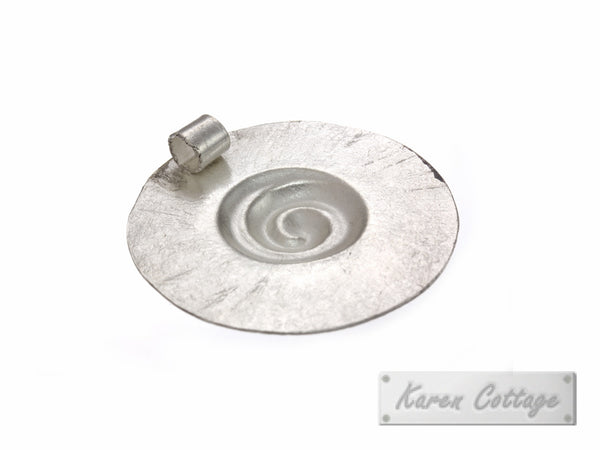 Karen Hill Tribe Silver Round Shell Fossil Pendant : D20-008