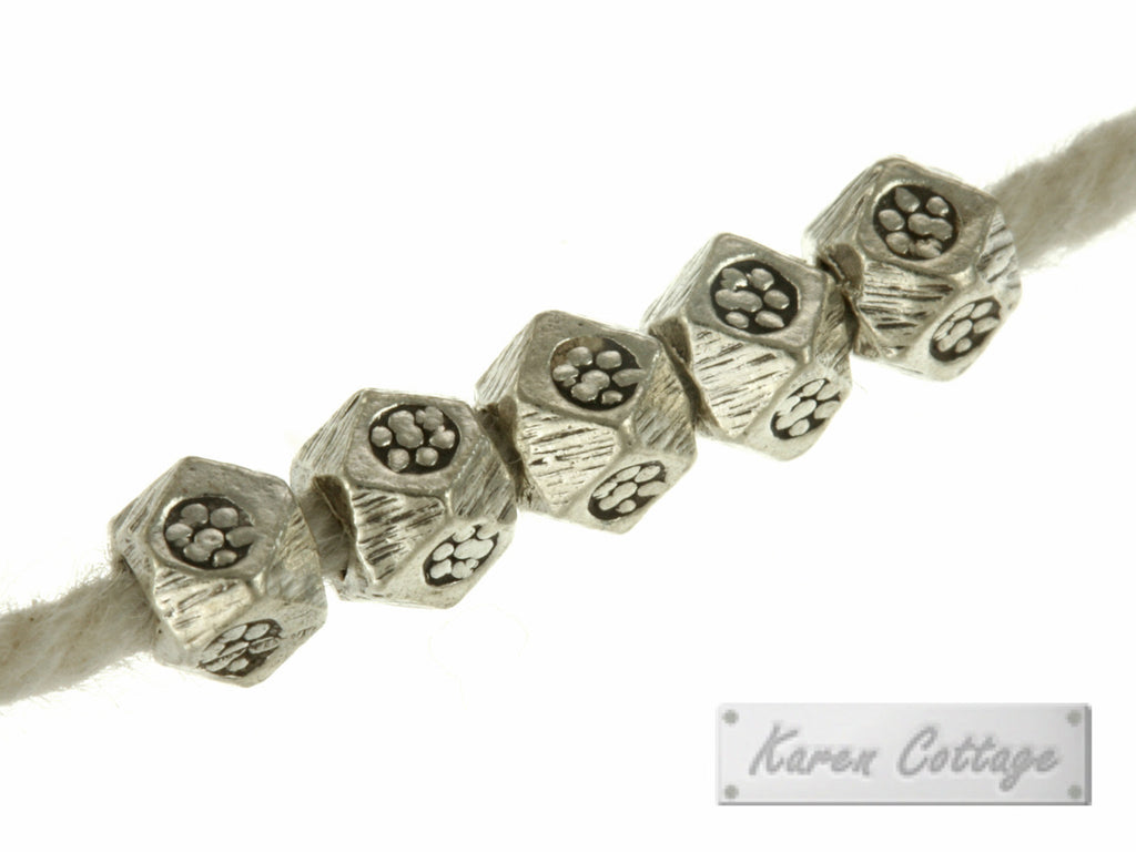 Karen Hill Tribe Silver Faceted Printed Cube Spacer : E11-002