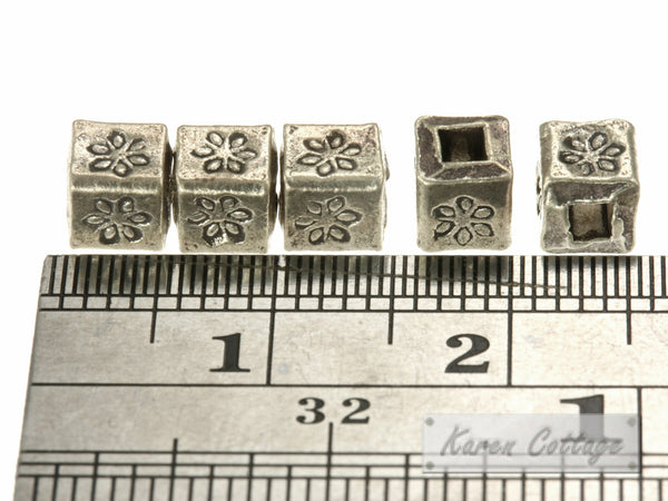 Karen Hill Tribe Silver Flower Printed Cube Spacer : E11-009