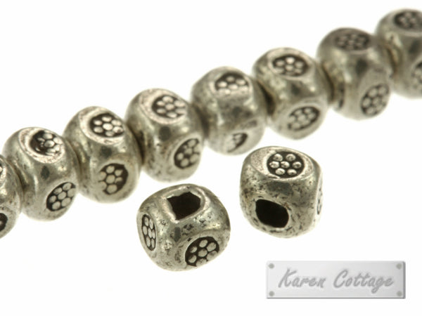 Karen Hill Tribe Silver Bullet Printed Cube Spacer : E11-014