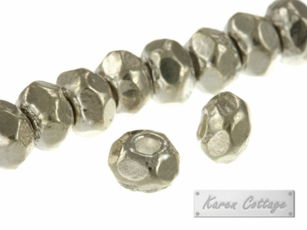 Karen Hill Tribe Silver Faceted Plain Hexagon Spacer : E13-002