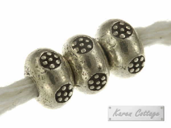 Karen Hill Tribe Silver Printed Solid Ball Spacer : E14-007