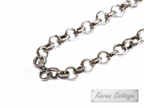 Karen Hill Tribe Silver Diamond Printed Round Ring Chain : F21-007