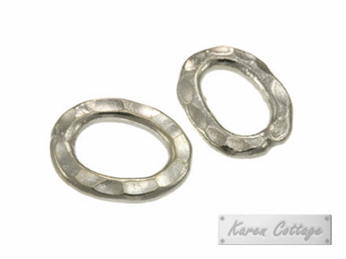 Karen Hill Tribe Silver Hammered Flat Oval Ring Bead : F22-012