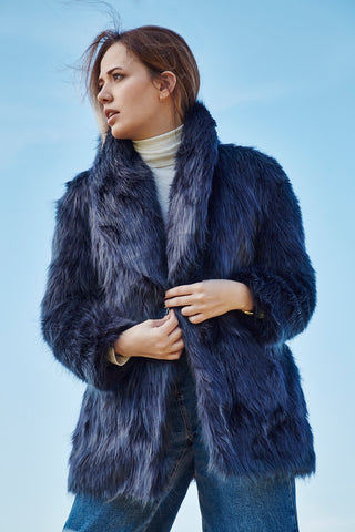 HANNA INDIGO FAUX FUR COAT