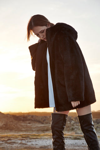 TOMBOY FAUX FUR HOODED COAT