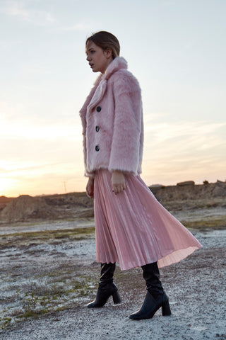LADYLIKE PINK FAUX FUR COAT