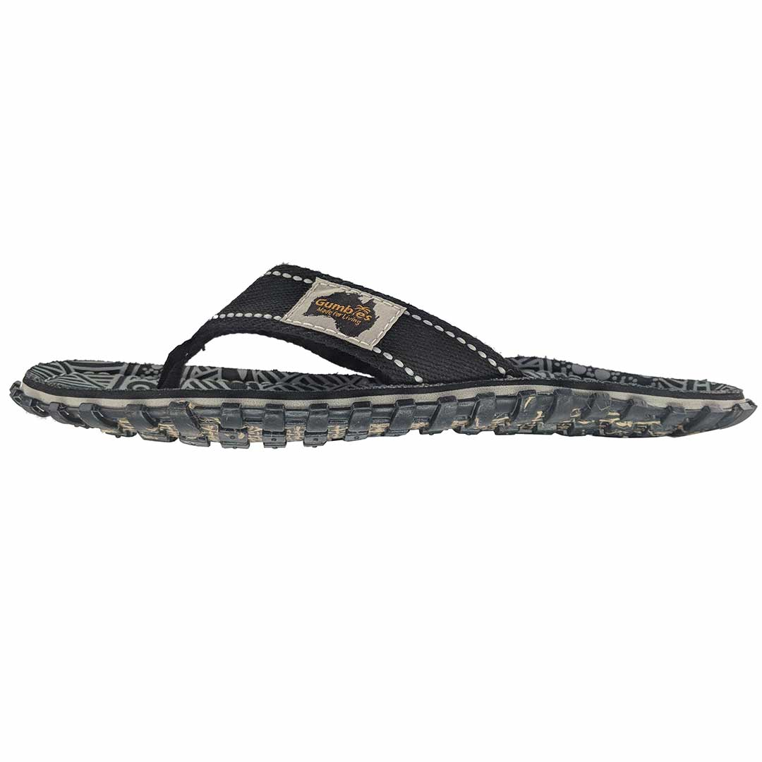 5c286b09d0b3 Islander Canvas Flip-Flops Black Signature Pattern