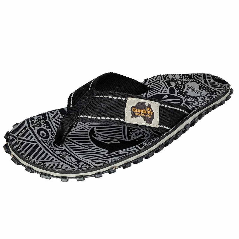 Islander Canvas Flip-Flops Black Signature Pattern