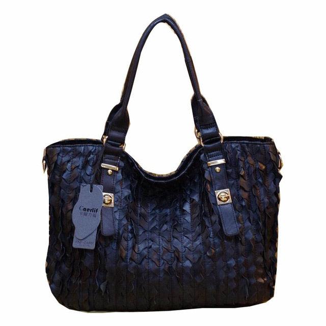 100% Genuine Leather Multi Colored Patchwork Women Fashion Leaf  Mosaic Handbags Multifunctional Shoulder Tote Bag