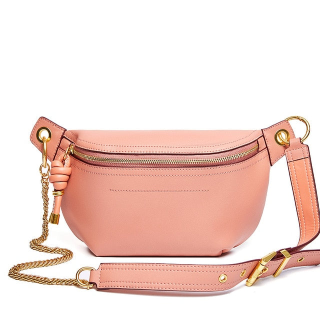 100% Genuine Leather Women Waist Bags Luxury Famous Brand Shoulder Bag Chain Belt Crossbody Female Bag Bolsa Feminina