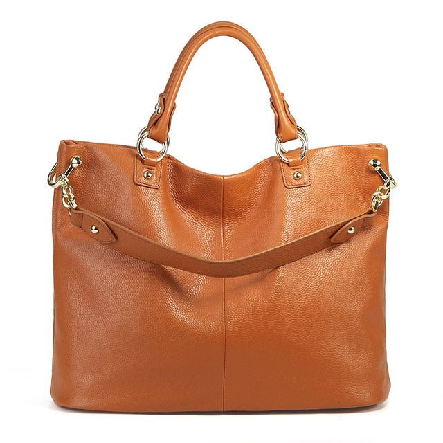 100% real cowhide leather women's handbags large genuine leather shoulder bag ladies Elegant tote hand bags women 2020 designer