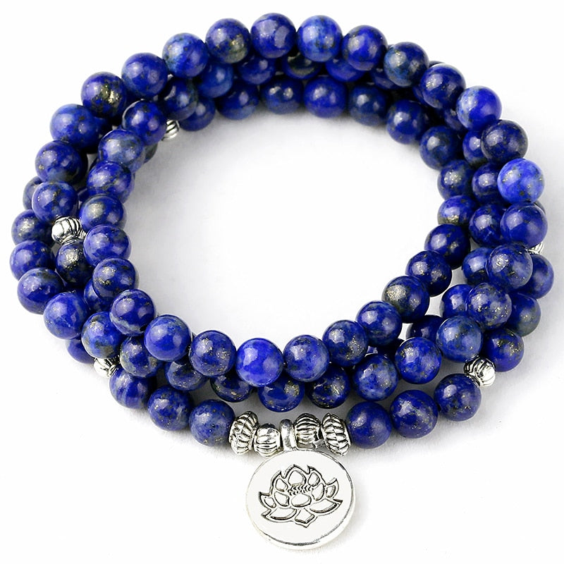 108 Mala Bracelet Prayer Beads Natural lapis lazuli Beads Meditation Mala Beads Bracelet Tibetan Healing Men Jewelry Do not fade