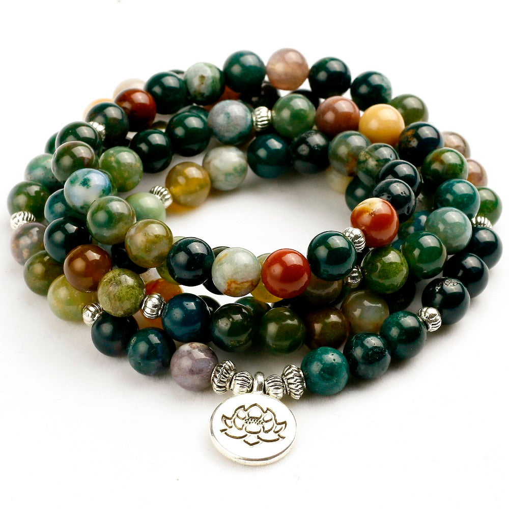 108 Tibetan Buddhist Mala Natural India Onyx Stone Bead Dual-use Women Necklace Men Bracelet Yoga Prayer for Meditation Gift
