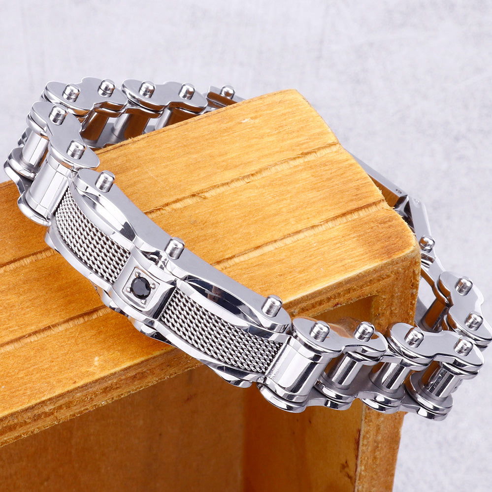 "12MM Wide 8.67"" 316L Stainless Steel Cast Metal Bicycle Chain Man Bracelets Mens Boys Biker Jewellery Accessories Bracelet Gifts"