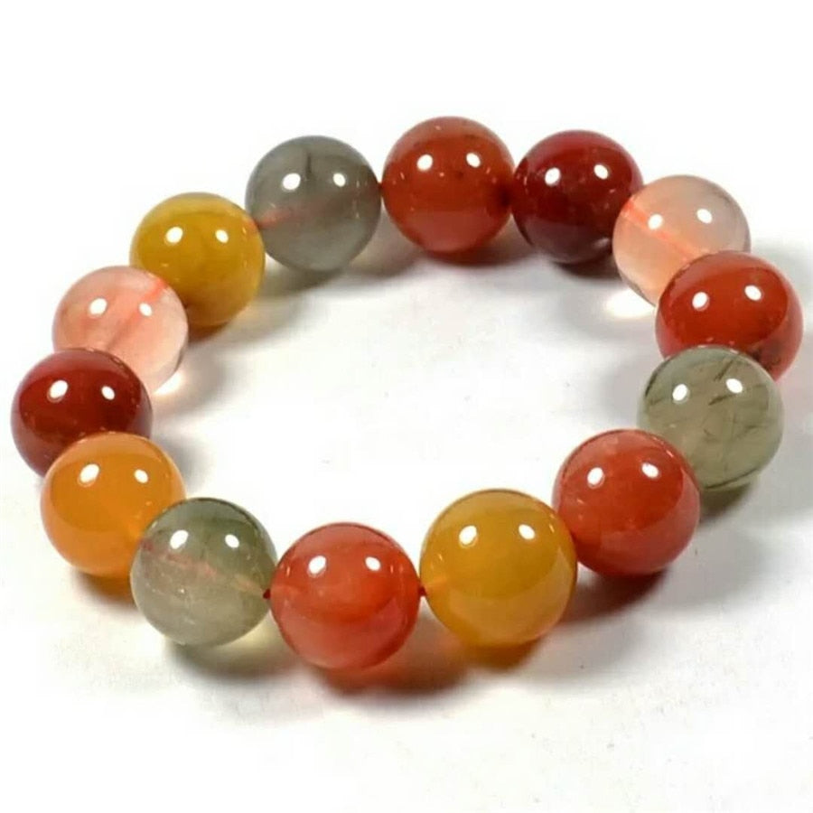 16mm Genuine Natural Colorful Rutilated Quartz Bracelets Women Men Fitness Power Stretch Crystal Big Round Bead Bracelet