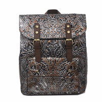 2017 New Embossed Leather Backpack Genuine Leather Women Rucksack Vintage Trend Shool Satchel Laptop Bag Daypack Travel Knapsack