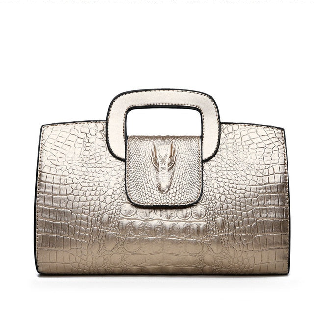 2018 Luxury Handbag Women Bags Designer PU Leather Bags  Girl Fashion Alligator Pattern Shoulder Bag Black High Quality Handbags