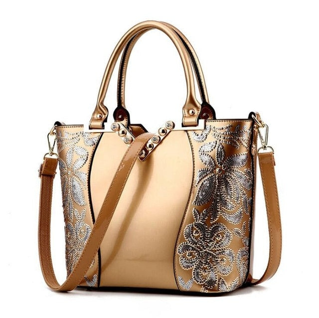 2019 Luxury Sequined Embroidery Women Bag Patent Leather Handbag Diamond Shoulder Messenger Bags Famous Brand Designer L4-3177