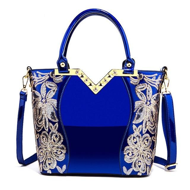 2019 Patent Leather Shoulder Bag Female Evening Party Bags Brand Designer Handbags Large Capacity Women Sequined Cross Body Tote