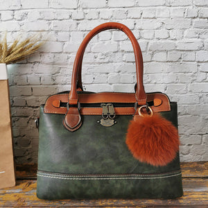 2019 Retro Portable Genuine Leather Women HandBag Fashion Contrast Casual Brush Single Shoulder Bag for Women Messenger Bags RU