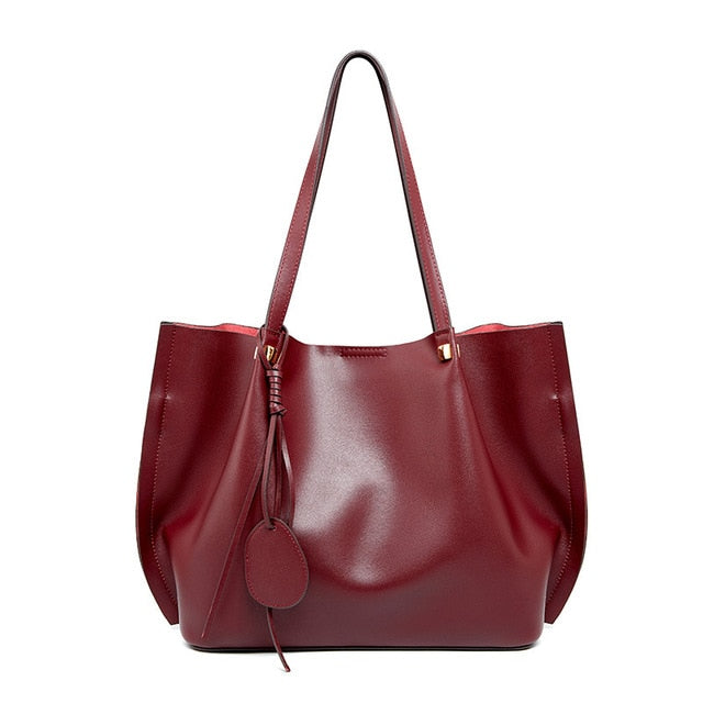 2020 New Luxury Fashion Cowhide Genuine Leather Bag Large Handbags For Women Female Big Shoulder Bag Ladies Tote Hand Bags Store