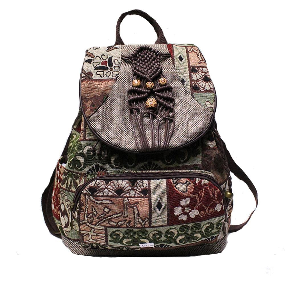 2020 New Women Backpack Female Vintage Handmade Backpacks For Girls Shoulder Bags National Geometrical Print Canvas Rucksack