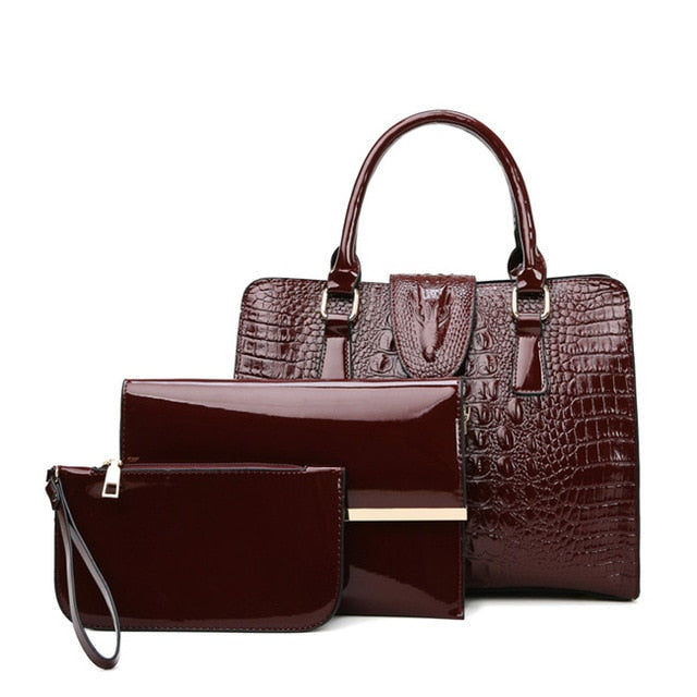 3 Sets Fashion Patent Leather Women Tote Bag Luxury Handbags Crocodile Pattern Women Bags Designer Brand Shoulder Messenger Bag