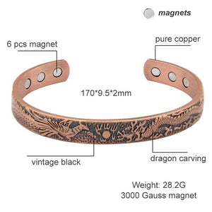 3000 Gauss Open Cuff Adjustable Bracelets for Women Health Energy Magnetic Bangles Dragon Pattern Pure Copper Bracelets & Bangle