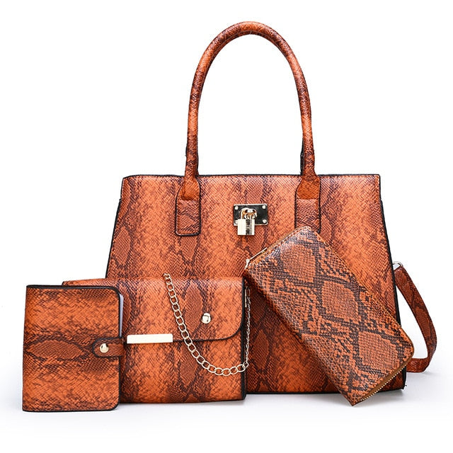 4 PCS Set women bag composite bag snake skin bag suit  New Luxury Women purses and handbags Shoulder bag dropshipping