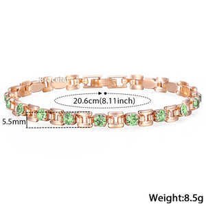 8 Color Cubic Zircon Bracelets For Women 585 Rose Gold Square Link Wristband Girlfriend Wife Gifts Women's Jewelry 20.6cm GBM101