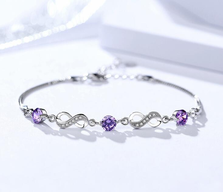 925 sterling silver Bracelet Charm Beads Crystals from Austrian Purple crystal Bracelet for Women girl Fine Jewelry girls Gift