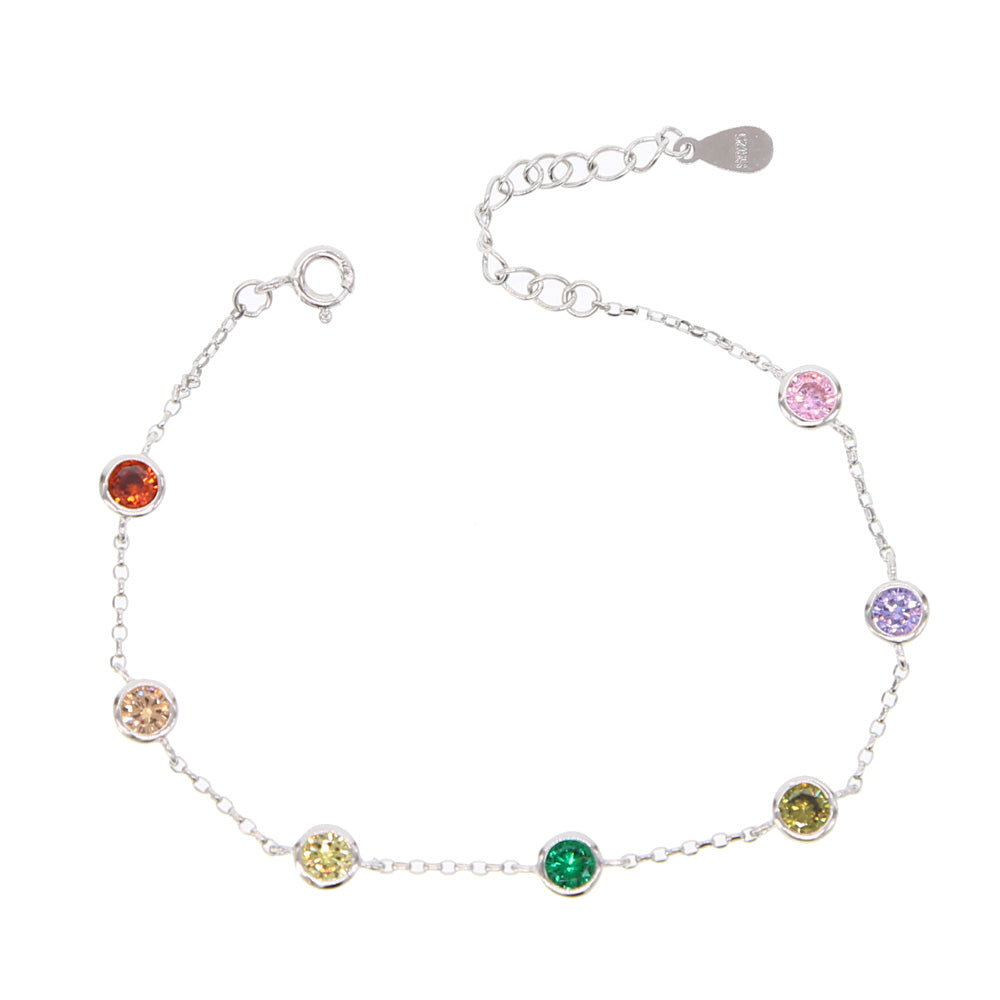 925 sterling silver multicolor cubic zirconia shiny colorful bracelet,silver chain women christmas jewelry,adjust bangles