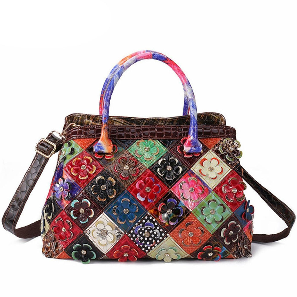 AEQUEEN Women Genuine Leather Handbags Patchwork Floral Hand bags Vintage Crossbody Bags Bohemian Feminine Bolsa Random Color