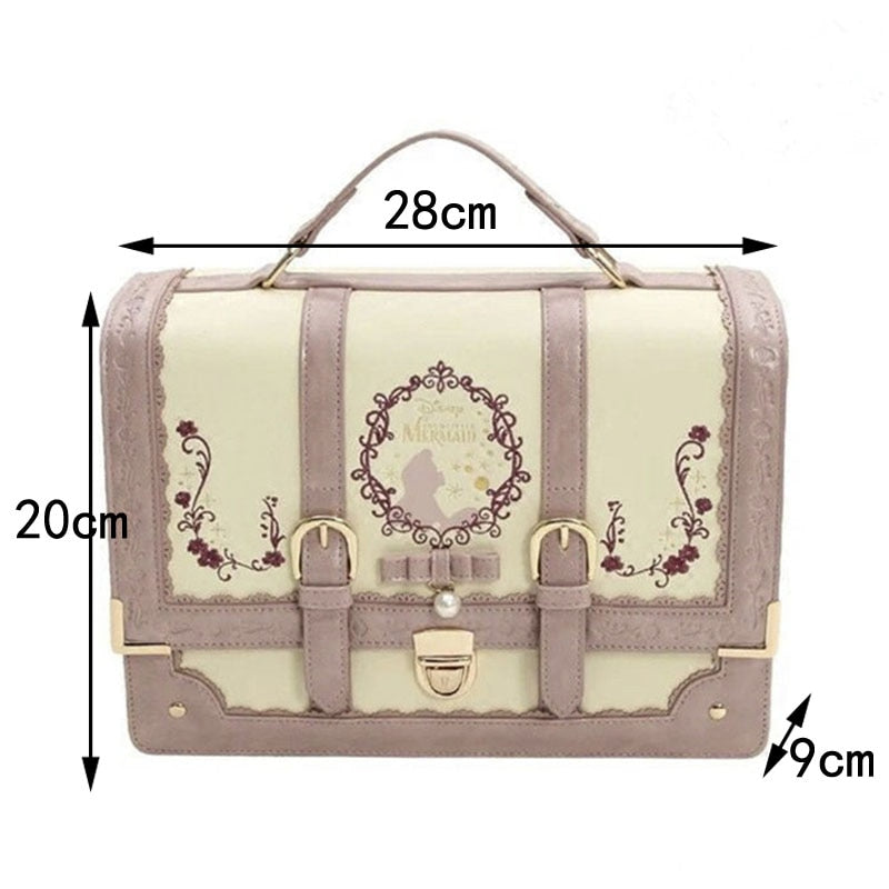 Alice In Wonderland Lolita Leather Backpack Girls Women Bow Bags Embroidered Vintage Student Schoolbag Mochila Feminina Bagpack