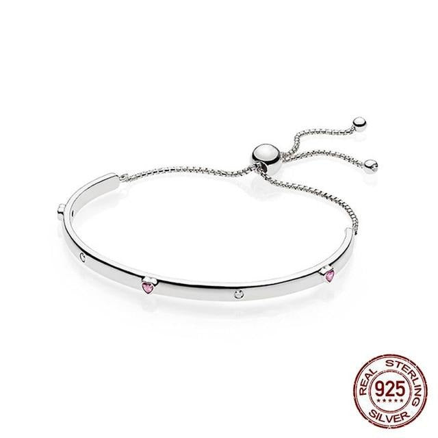 Anomokay Featured Brand 925 Sterling Silver Bracelet Women Link Tennis Adjustable Bracelet with Pink Crystal Heart
